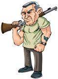 Karikatur-Vietnam-Tierarzt mit einem Gewehr Stockfotos