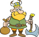 Karikatur Viking, das eine Axt hält Lizenzfreies Stockfoto