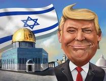 Karikatur von Anerkennung Vereinigter Staaten von Jerusalem als israelischer Kappe Lizenzfreies Stockfoto
