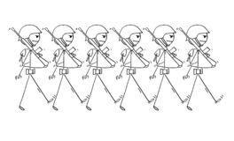 Karikatur von den modernen Soldaten, die zum Krieg auf Parade oder herein marschieren lizenzfreie abbildung