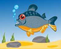 Karikatur von Fischen zu den piranhases, die im Fluss sailling sind