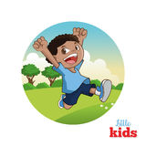 Karikatur von glücklichen Kleinkindern, Vektorillustration Stockbild