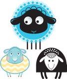Karikatur von Schafen und von RAM Wahl in der Farbe und in der Schattenbildversion Stockfotografie