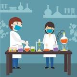Karikatur von Wissenschaftler im Labor lizenzfreie abbildung