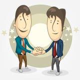 Karikatur von zwei Geschäftsmännern rüttelte Hände zu seiner Beteiligung teilhaberschaft Lizenzfreie Stockfotografie