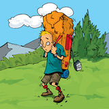 Karikatur-Wanderer im Wald Stockbild