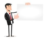 Karikatur-weiße Geschäftsmann-Besuchs-Karte Stockfoto