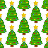 Karikatur-Weihnachtsbaum-nahtloses Muster Stockfotos