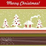 Karikatur-Weihnachtskarte mit Weihnachtsbaum, Kugeln, hous Stockfotografie