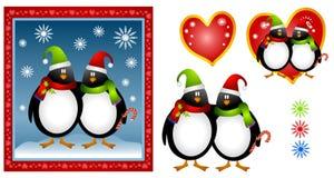 Karikatur-WeihnachtsPinguin-Paare Stockbild