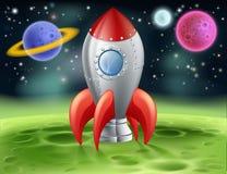 Karikatur-Weltraumrakete auf ausländischem Planeten Stockfotos