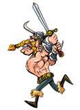 Karikatur Wikinger, der mit seinem auflädt Stockfotografie