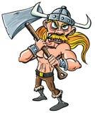 Karikatur Wikinger mit sehr großer Axt. Lizenzfreie Stockbilder
