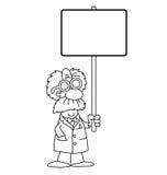 Karikatur-Wissenschaftler mit Zeichen Stockbilder