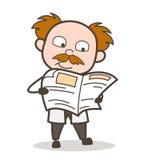 Karikatur-Wissenschaftler-Reading News Vector-Illustration Lizenzfreies Stockbild