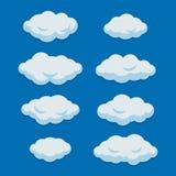 Karikatur-Wolken eingestellt auf blauer Himmel-Hintergrund Vektor stock abbildung
