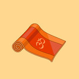 Karikatur-Yogamatte des Vektors orange stock abbildung