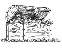 Karikatur-Zeichnung der hölzernen Schatztruhe voll des Geldes vektor abbildung