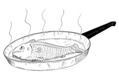 Karikatur-Zeichnung von den Fischen gekocht auf Bratpfanne stock abbildung