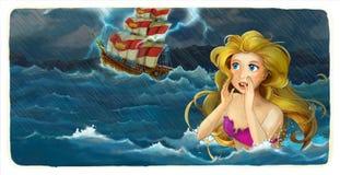 Karikaturabenteuerillustration - stürmen Sie auf der meeres- Meerjungfrau, die das Schiff aufpasst Stockfotografie