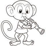 Karikatur-Affe, der einen Clarinet spielt stock abbildung