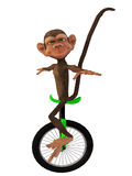 Karikaturaffe mit einem Unicycle Stockfotos