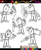 Karikaturarbeitskräfte eingestellt für Malbuch lizenzfreie abbildung