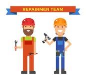Karikaturarbeitskraftpaare und -werkzeuge darunter Stockfotos