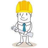 Karikaturarchitekten-Baumanager, der Pläne hält Stockfotografie