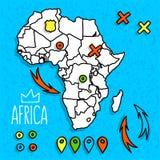 Karikaturart Afrika-Reisekarte mit Stiftvektor Lizenzfreie Stockfotografie