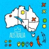 Karikaturart Australien-Reisekarte mit Stiften Stockbilder