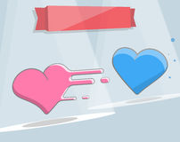 Karikaturart mit zwei Herzen Vektorillustration für Druck und Webdesign Stockfotografie