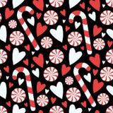 KarikaturartschwarzZuckerstange- und Pfefferminztorsion mit Herzen nahtloses Saisonweihnachtsgrafischem Illustrationsmuster stock abbildung