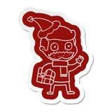 Karikaturaufkleber eines Mannes mit dem Schnurrbart- und Weihnachtsgeschenk, das Sankt-Hut tr?gt lizenzfreie abbildung