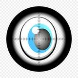 Karikaturaugen mit optischem Anblick des Scharfschützen Augen, die nach Ziel suchen Mit Waffengewalt Vektor vektor abbildung
