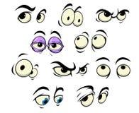 Karikaturaugen mit verschiedenen Ausdrücken Stockbilder