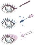 Karikaturaugenmake-up: Eyeliner, Wimperntusche, Lidschatten Stockbilder