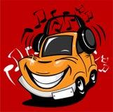 Karikaturauto, das Musik genießt Stockbild