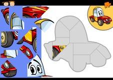 Karikaturauto-Laubsägenrätselspiel Stockfotos