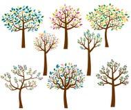 Karikaturbäume mit bunten Blättern vektor abbildung