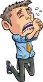 KarikaturBüroangestellter, der um seinen Job bittet Stockfotos