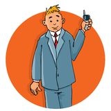 KarikaturBüroangestellter am Telefon Stockfoto