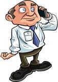 KarikaturBüroangestellter am Telefon Er lächelt Stockbild