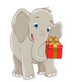 Karikaturbabyelefant, der eine Geschenkbox mit Band liefert Lizenzfreies Stockfoto
