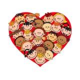 Karikaturbabygesichter im Herzen formten Rahmenvektorgesicht, Liebe, Lächeln, Illustration, Kindheit, das Kind, global, Vereinigu Stock Abbildung