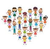 Karikaturbabygesichter im Herzen formten Rahmenvektorgesicht, Liebe, Lächeln, Illustration, Kindheit, das Kind, global, Vereinigu Stockbilder