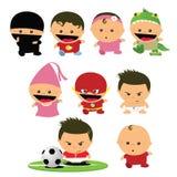 Karikaturbabys/Kinder/Babykindertagesstättenspaßspielen maskiert Lizenzfreies Stockfoto