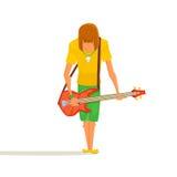 Karikaturbassgitarrist stock abbildung