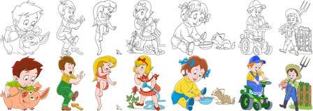 Karikaturbauernhof-Leutesatz lizenzfreie abbildung