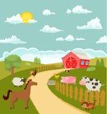 Karikaturbauernhof mit netten Tieren Vektor Stockbild